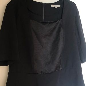 Sejour Fitted Black 18W Blouse with Faux leather